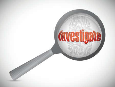 investigation under search, illustration design over a white background Stock Illustratie