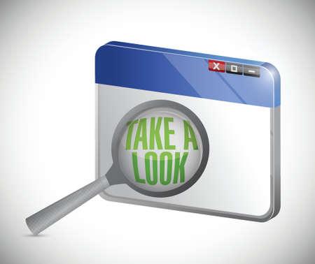 internet take a look concept, under a magnifier. illustration design over white Ilustração