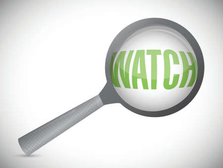 word watch under a magnifier. illustration design over white Vectores