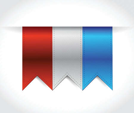red, white and blue USA banners illustration design over white Vector