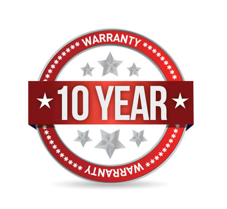 ten year warranty seal illustration design over white Vector