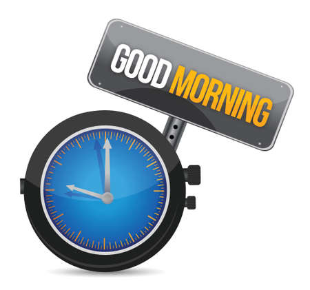 oclock: clock with the text good morning illustration design