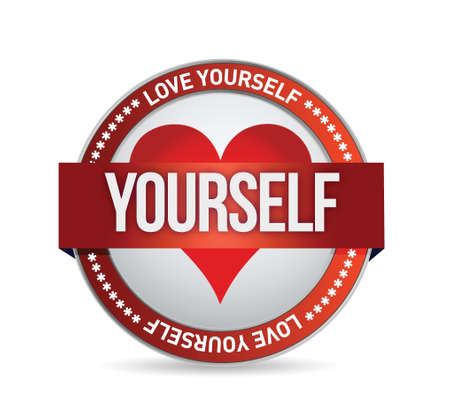 Love Yourself badge illustration design over white Çizim
