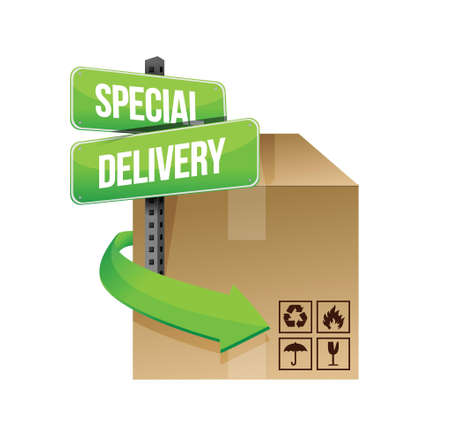 special delivery concept sign illustration design over white