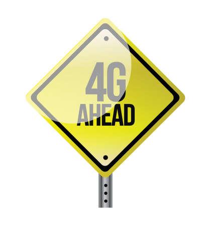 4g ahead yellow road sign illustration design Stock Illustratie