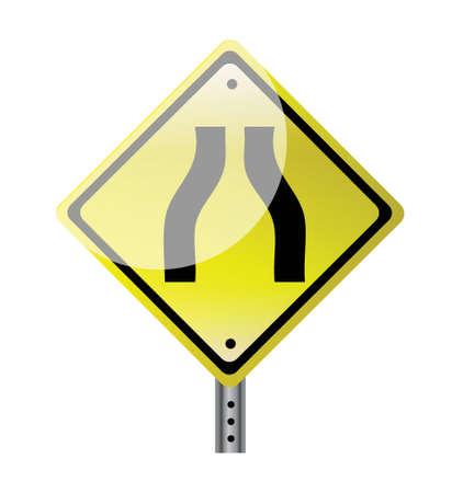 narrow: narrow road yellow road sign illustration design Illustration