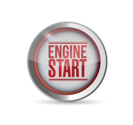 rode motor starten knop. illustratie, ontwerp, grafisch