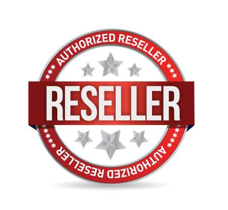 Authorized reseller seal stam illustration design over white