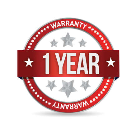 surety: one year warranty seal illustration design over white