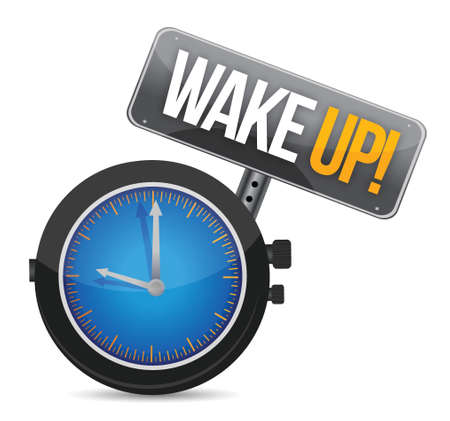 timepiece: clock with the text wake up illustration design Illustration