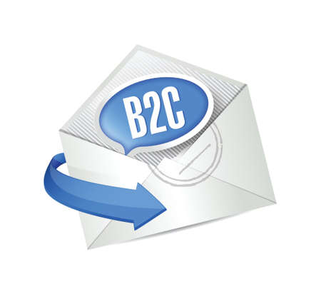 b2c: b2c message bubble email illustration design over white Illustration