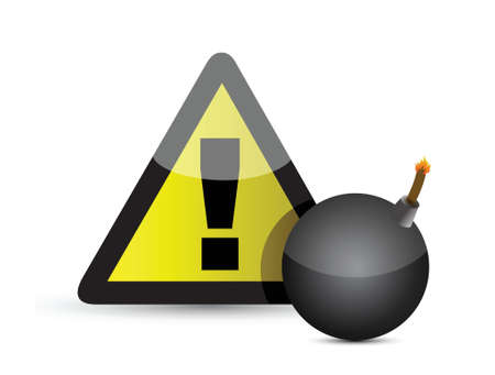 Exclamation mark and black bomb.Isolated on white