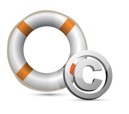 Lifebuoy and C symbol.Isolated on white. illustration design Иллюстрация
