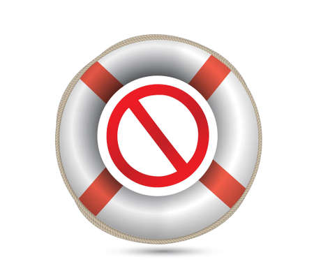Lifebuoy and forbid symbol.Isolated on white. illustration design Stock Vector - 20662520