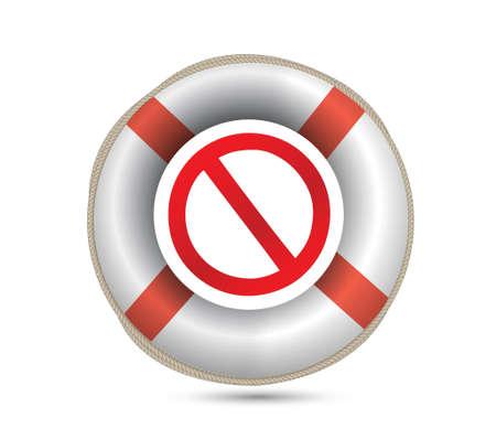 ban aid: Lifebuoy and forbid symbol.Isolated on white. illustration design