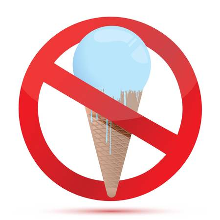 Red glass forbidden sign with ice cream. illustration design Vector