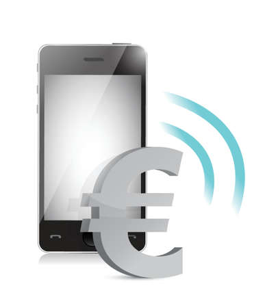 tariff: euro currency management on a mobile phone illustration Illustration
