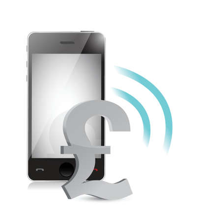 british pound currency management on a mobile phone illustration Stock Vector - 20662386