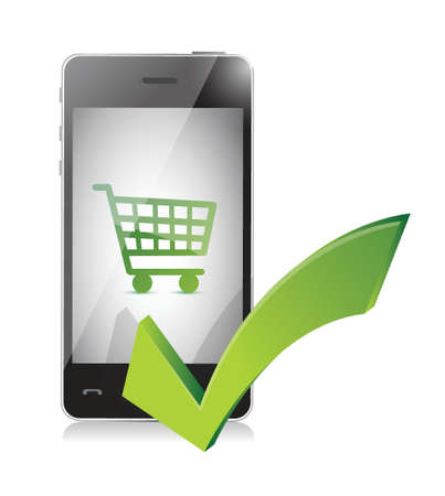 technology transaction: online shopping basket on a mobile phone illustration design