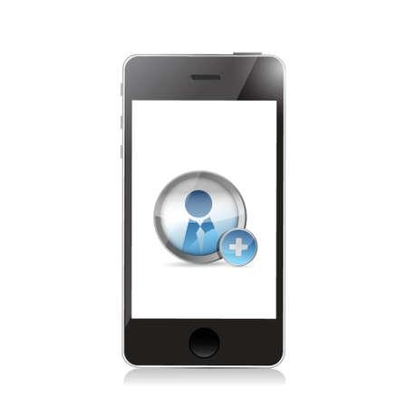 worldwideweb: phone. Add a Friend icon illustration design over a white background