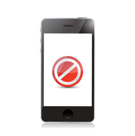 phone screen with the message forbidden. illustration design over white Stock Vector - 20662389