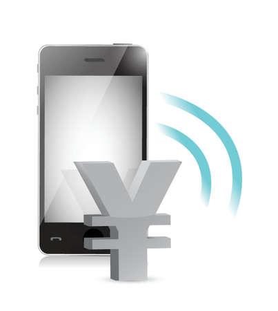 yen currency management on a mobile phone illustration