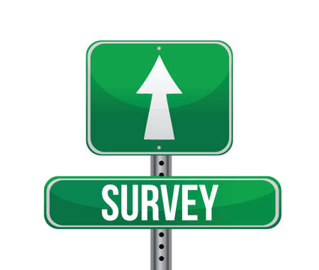 valuation: Illustration depicting a sign with a survey concept. illustration Illustration