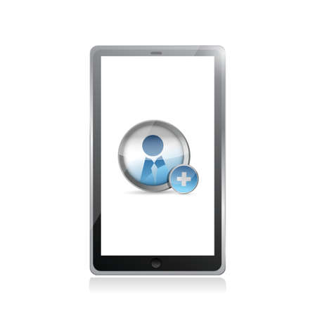 worldwideweb: add a friend on a tablet screen illustration design over white