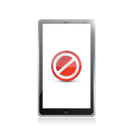 tablet screen with the message forbidden. illustration design over white Vector