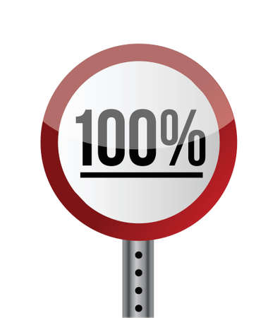 Road sign White Red with word 100 Percent. illustration design Stock Vector - 20662474