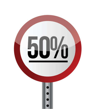 Road sign White Red with word 50 Percent. illustration design Stock Vector - 20662475