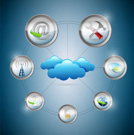 cloud: Cloud Computing setting tools concept illustration design Stock Photo