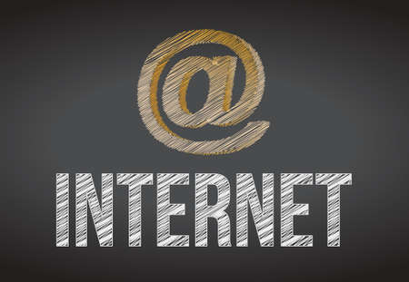internet handwritten with white chalk on a chalkboard Vector