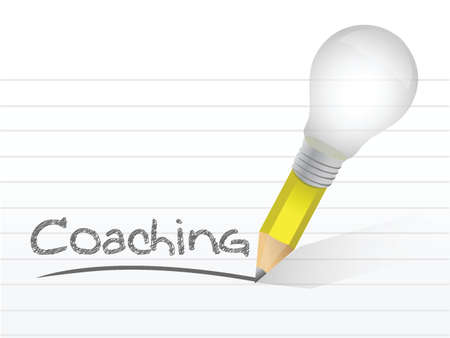 Coaching handwritten with lightbulb pencil over a notepad Vector