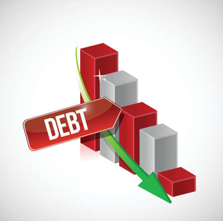 Growth bar graph of debt on white illustration design Ilustrace