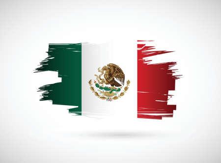 bandera mexicana: México. Diseño de la bandera de la tinta mexicana en el fondo blanco
