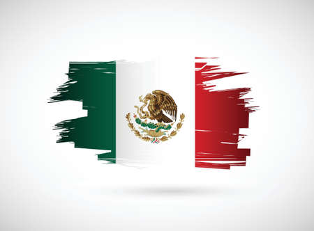 mexican flag: Mexico. Mexican ink flag illustration design on white background