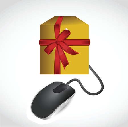 comerce: online gift concept illustration design over white