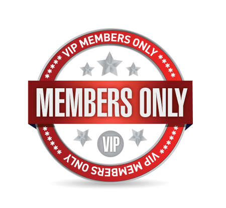 Members only. VIP seal illustration design over white