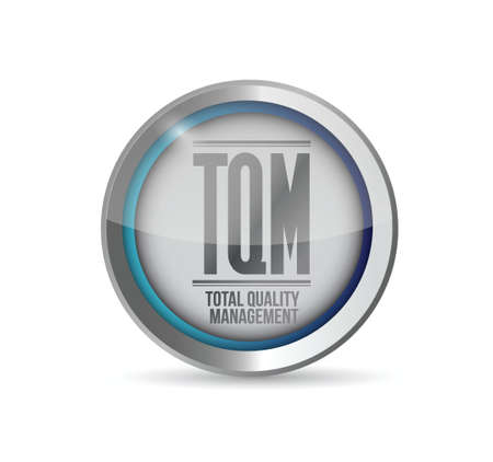 total: tqm total quality management button. isolated over white