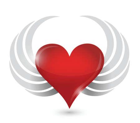 prickles: illustrazione di disegno del cuore con le ali su bianco
