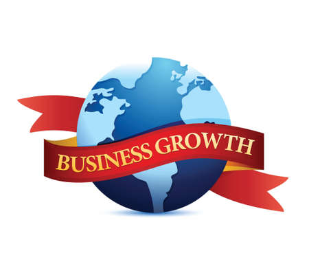 labor market: Business growth with globe illustration design over white