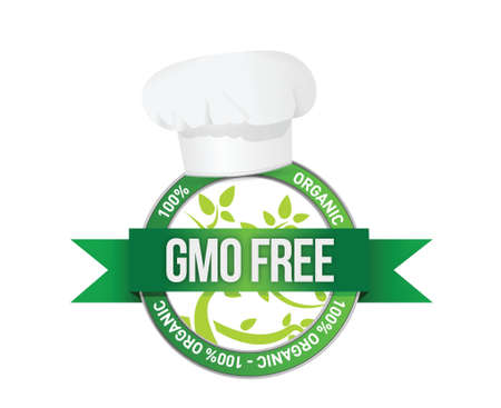 food industry: free genetically modifies plants sign illustration design