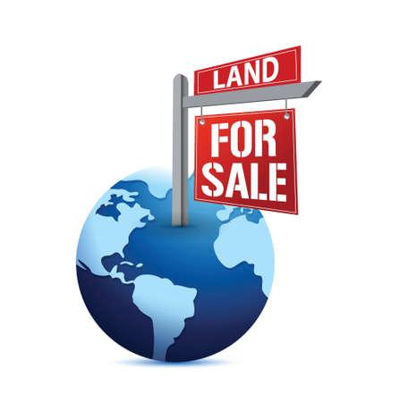 for sale sign on planet Earth illustration design over white Vector