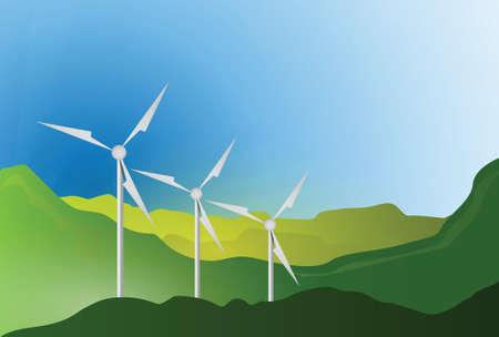 wind turbines blue sky illustration design graphic landscape