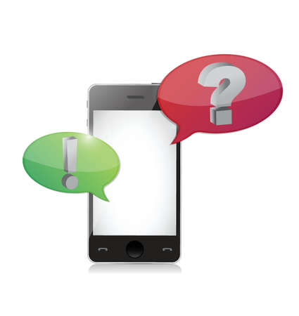 Smart-phone with question and answer speech bubbles illustration