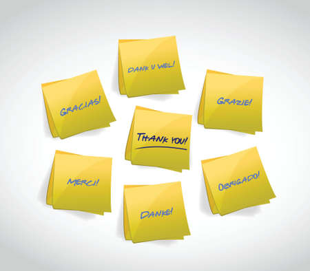 attachments: Thank You written in various languages illustration design