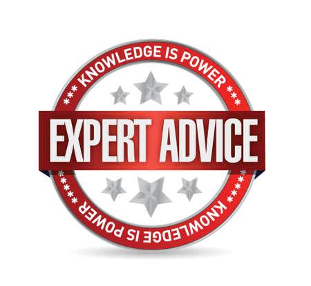 expert advice seal illustration design over a white background