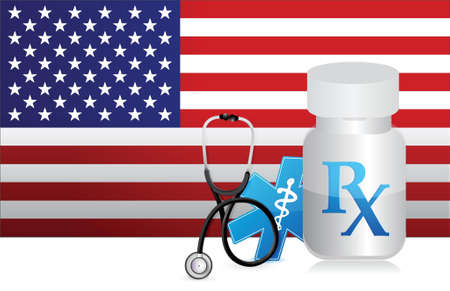 medicaid: US Healthcare flag and medicine illustration design graphic Illustration