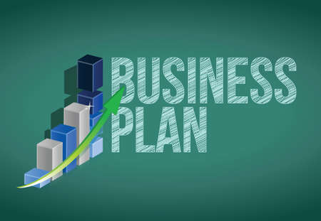 Business Plan and graph on a chalkboard. illustration design Vector